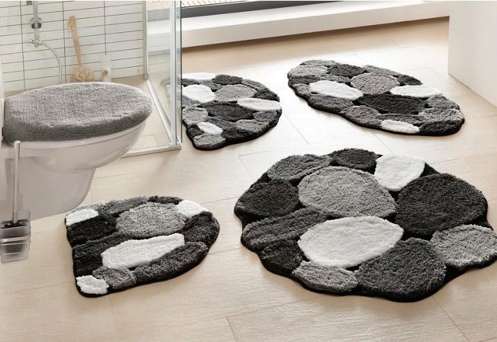 1x oval badematte 50x90 grau wei schwarz by glenette vorleger stein optik neu ebay. Black Bedroom Furniture Sets. Home Design Ideas