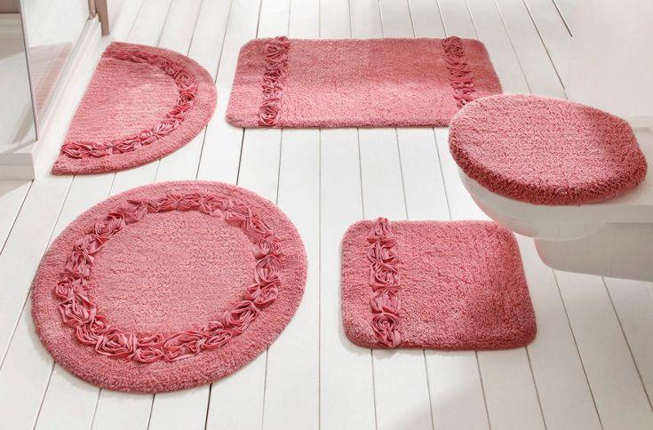 2 tlg set badgarnitur rosa heine h nge wc vorleger deckelbezug baumwolle neu ebay. Black Bedroom Furniture Sets. Home Design Ideas
