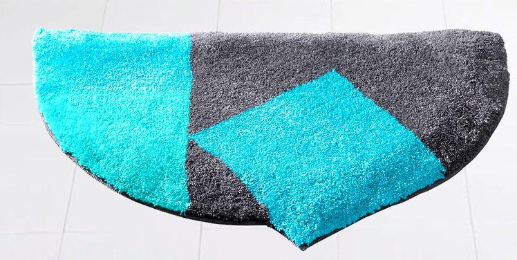 1 st duschvorleger dreieck von grund 50 x 80 cm t rkis grau badteppich neu ebay. Black Bedroom Furniture Sets. Home Design Ideas
