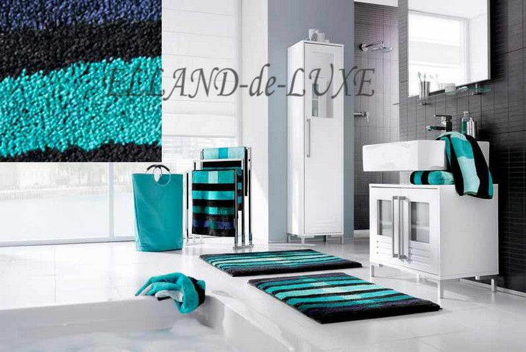 1 st badematte von grund 80 x 140 t rkis schwarz blau badteppich voirleger neu ebay. Black Bedroom Furniture Sets. Home Design Ideas