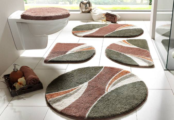 1 st badematte rund 80 braun grau matte badteppich teppich vorleger neu ebay. Black Bedroom Furniture Sets. Home Design Ideas