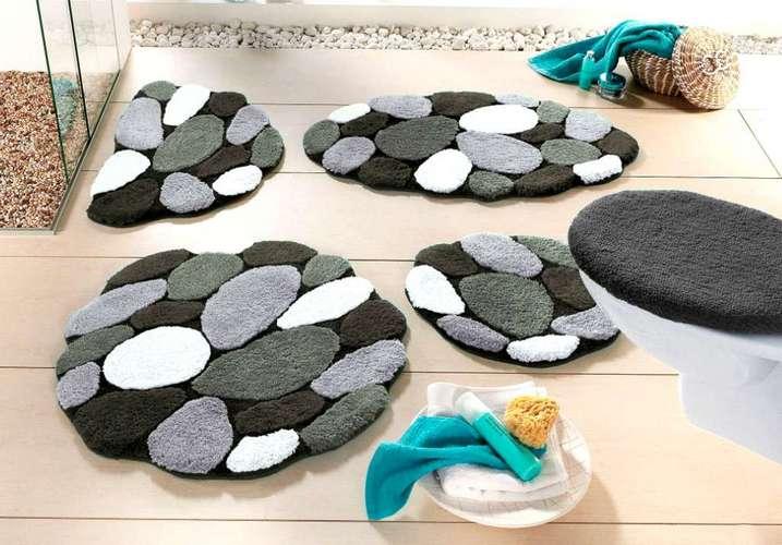 1 st badematte oval 70 x 120 grau schwarz wei matte stein look vorleger neu ebay. Black Bedroom Furniture Sets. Home Design Ideas