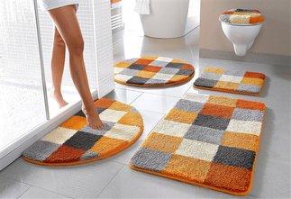 3 tlg badgarnitur badteppich 50 x 90 orange grau stand wc vorleger badmatte ebay. Black Bedroom Furniture Sets. Home Design Ideas