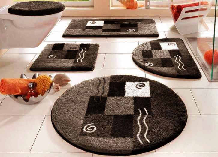 2 tlg set badgarnitur schwarz wei grau h nge wc vorleger. Black Bedroom Furniture Sets. Home Design Ideas