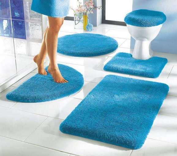 1 st badteppich 90 x 160 blau azur badematte teppich matte vorleger neu ebay. Black Bedroom Furniture Sets. Home Design Ideas