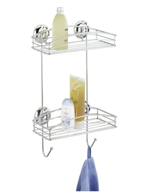 zwei etagen wandregal super loc chrom wenko duschregal badregal o bohren neu ebay. Black Bedroom Furniture Sets. Home Design Ideas
