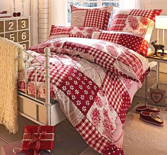 2 tlg biber bettw sche 135 x 200 rose braun rot wei patchwork landhaus neu ebay. Black Bedroom Furniture Sets. Home Design Ideas