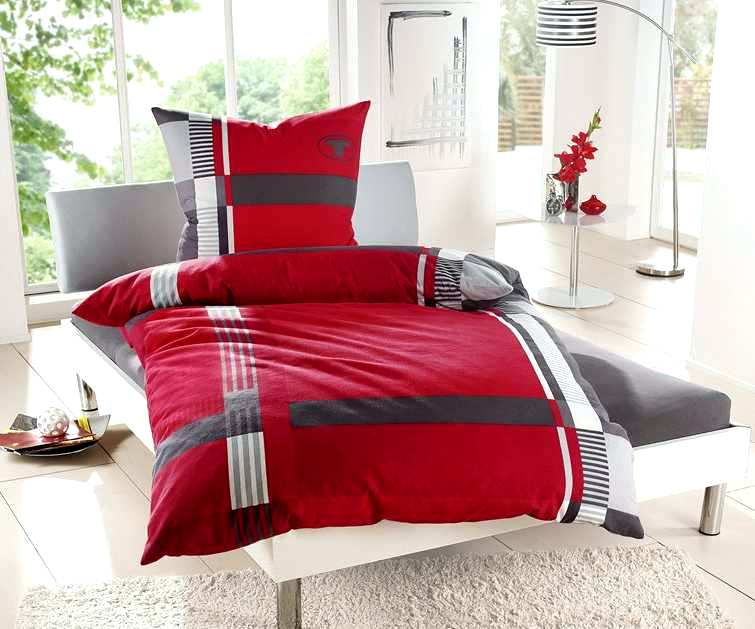 2 tlg bettw sche von tom tailor 155 x 220 rot anthrazit wei bettgarnitur neu ebay. Black Bedroom Furniture Sets. Home Design Ideas