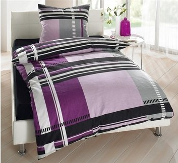 4 tlg biber bettw sche 135 x 200 beere lila bettgarnitur von flashlights neu ebay. Black Bedroom Furniture Sets. Home Design Ideas