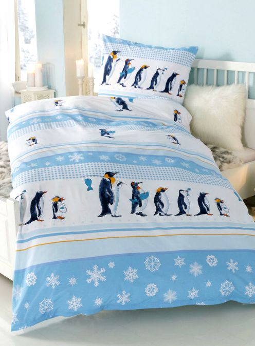 2 tlg biber bettw sche 135 x 200 blau wei bezug pinguine kuschel bettgarnitur ebay. Black Bedroom Furniture Sets. Home Design Ideas