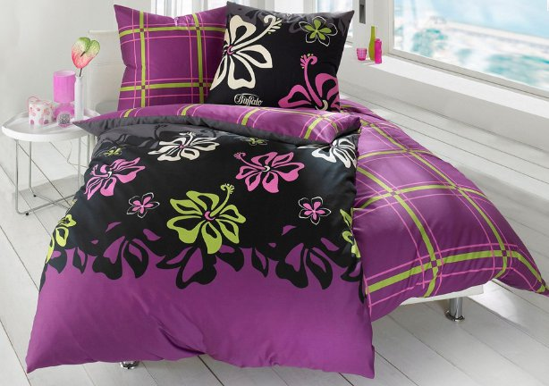 2 tlg wende bettw sche buffalo 135 x 200 fuchsia lila gr n schwarz karo blume ebay. Black Bedroom Furniture Sets. Home Design Ideas