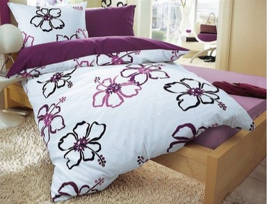 1 st bettbezug h i s 135 x 200 lila wei bezug bettw sche blume neu ebay. Black Bedroom Furniture Sets. Home Design Ideas