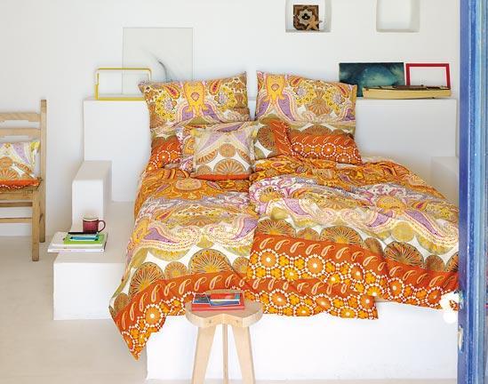 2 tlg bettw sche bassetti granfoulard 155 x 220 orange garnitur mako satin neu. Black Bedroom Furniture Sets. Home Design Ideas