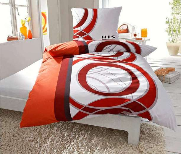 bettw sche schwarz rot weiss satin bettwasche his rot orange weiss schwarz garnitur neu bettw. Black Bedroom Furniture Sets. Home Design Ideas