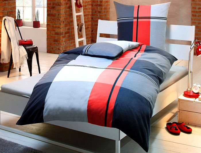 4 tlg bettw sche 135 x 200 rot wei schwarz bettgarnitur kariert neu. Black Bedroom Furniture Sets. Home Design Ideas