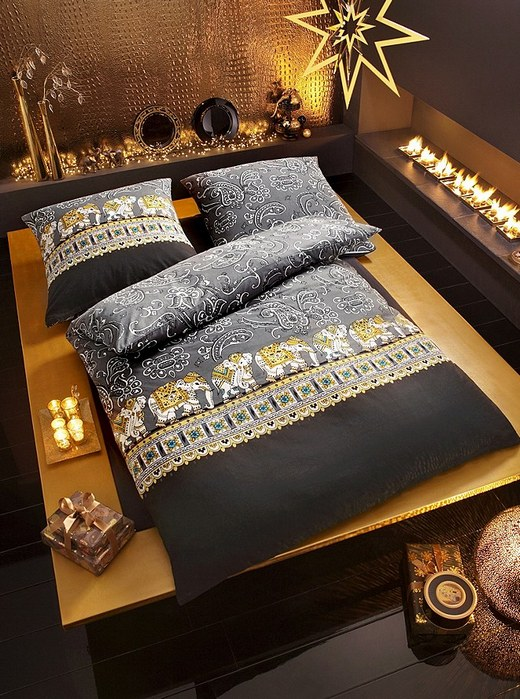 2 tlg mako satin bettw sche 135 x 200 grau gold schwarz bettgarnitur elefanten ebay. Black Bedroom Furniture Sets. Home Design Ideas