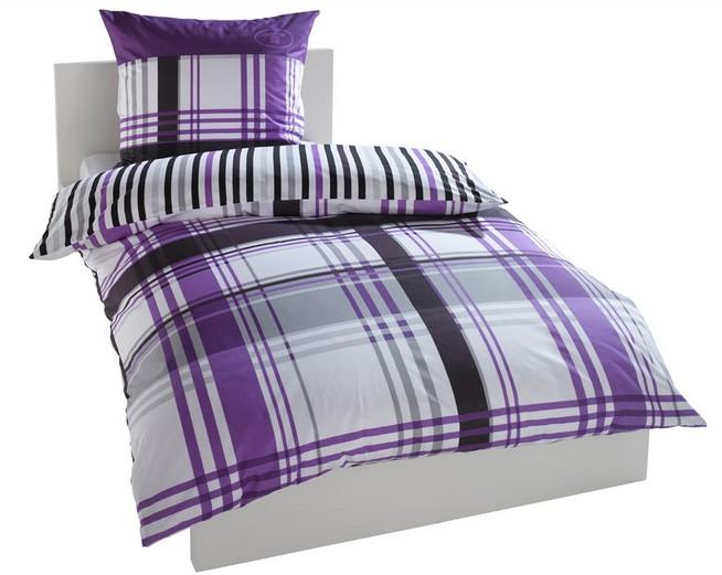 tom tailor bettw sche 155 x 220 lila grau schwarz wei ebay. Black Bedroom Furniture Sets. Home Design Ideas
