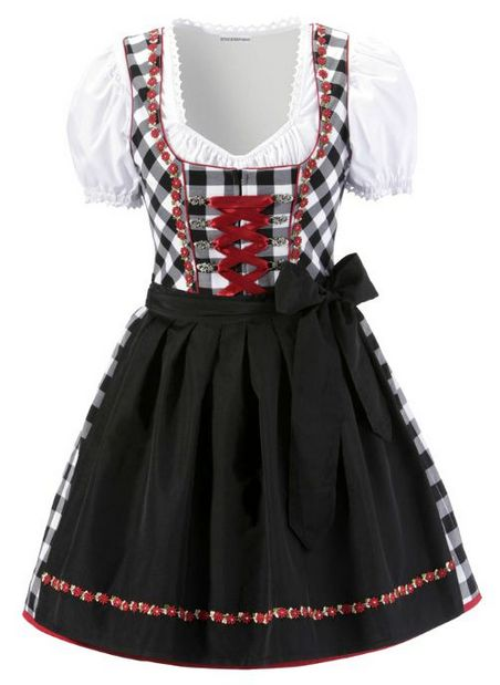 3tlg dirndl kleid bluse sch tze 32 schwarz wei rot. Black Bedroom Furniture Sets. Home Design Ideas