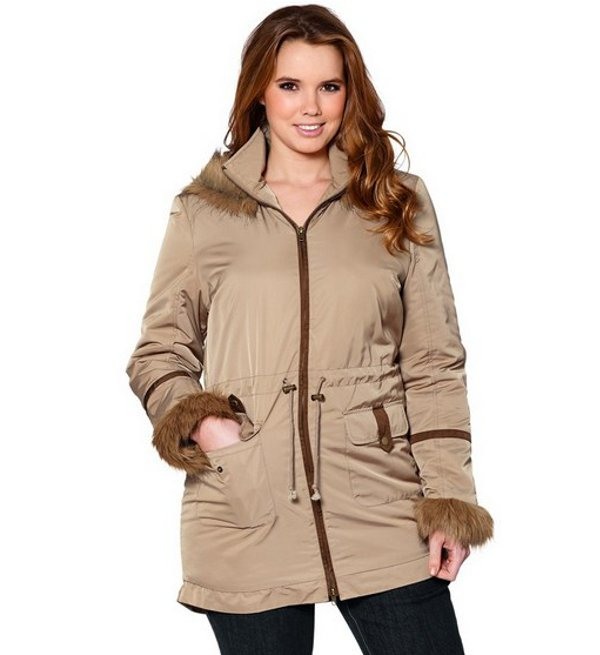 parka v sheego damen jacke gr 46 beige winterjacke kurzmantel mantel fell neu ebay. Black Bedroom Furniture Sets. Home Design Ideas