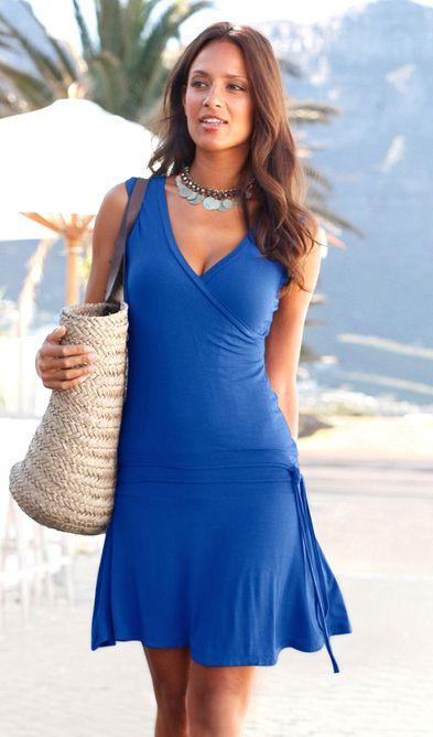 strandkleid von beachtime gr 40 royalblau blau kleid damen dress jersey neu ebay. Black Bedroom Furniture Sets. Home Design Ideas