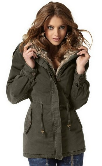 parka von laura scott winterjacke gr 36 khaki oliv fell. Black Bedroom Furniture Sets. Home Design Ideas