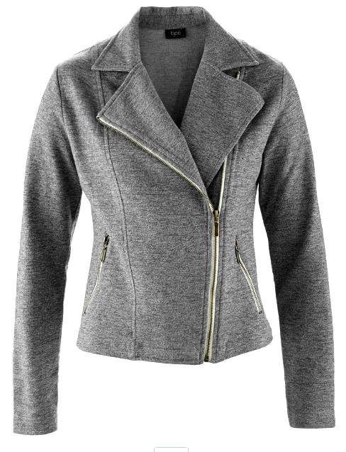 sweat jacke blazer gr 36 38 grau meliert biker look damen stretch neu ebay. Black Bedroom Furniture Sets. Home Design Ideas