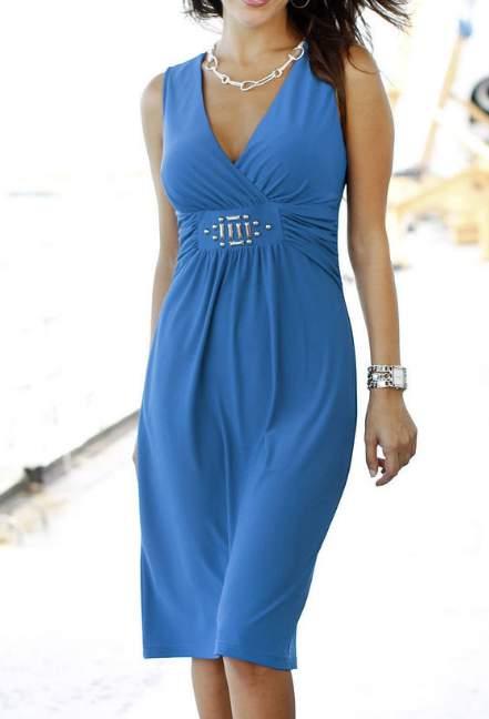 stretch kleid gr 52 blau shirtkleid damen kurz knielang. Black Bedroom Furniture Sets. Home Design Ideas