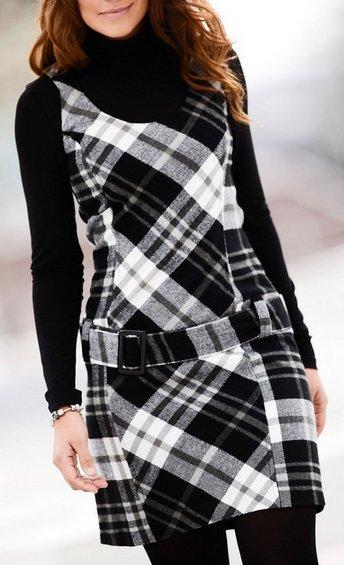 etuikleid mini kleid gr 40 schwarz wei karo 60er stil damen stiefel kleid neu ebay. Black Bedroom Furniture Sets. Home Design Ideas