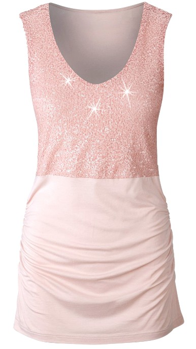 pailletten top damen gr 44 46 rosa glitzer stretch shirt. Black Bedroom Furniture Sets. Home Design Ideas