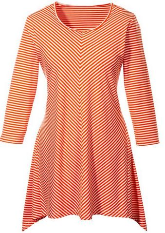 3-4-ARM-LONG-SHIRT-Gr-36-38-WEIss-ORANGE-MINI-KLEID-TUNIKA-STRETCH-DAMEN-NEU
