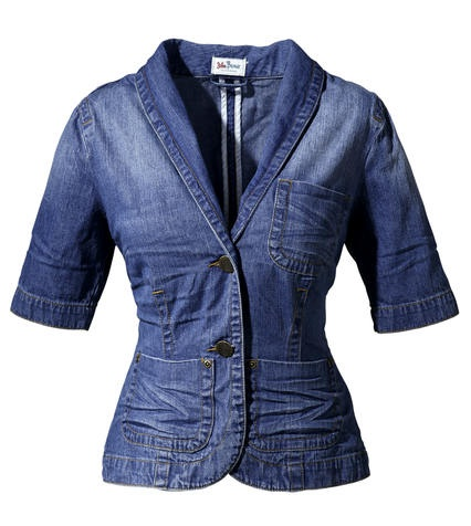 jeansjacke jeans blazer damen gr 38 blau blue used kurzarm jacke neu ebay. Black Bedroom Furniture Sets. Home Design Ideas