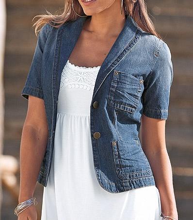 jeansjacke jeans blazer damen gr 38 blau blue used. Black Bedroom Furniture Sets. Home Design Ideas
