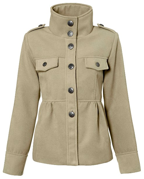 mantel jacke gr 36 sand beige damen coat kurz military. Black Bedroom Furniture Sets. Home Design Ideas