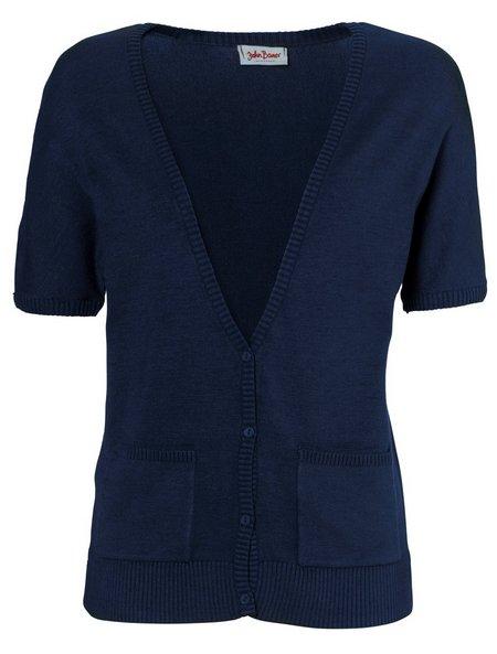 strickjacke cardigan gr 48 50 marine blau damen fein strick kurzarm jacke neu. Black Bedroom Furniture Sets. Home Design Ideas
