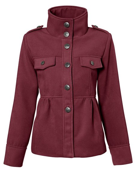 jacke gr 42 bordeaux rot damen coat kurz mantel military. Black Bedroom Furniture Sets. Home Design Ideas
