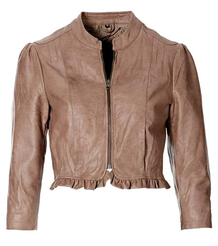 leder imitat jacke gr 40 taupe braun damen kurz blazer 3 4 arm stehkragen neu ebay. Black Bedroom Furniture Sets. Home Design Ideas