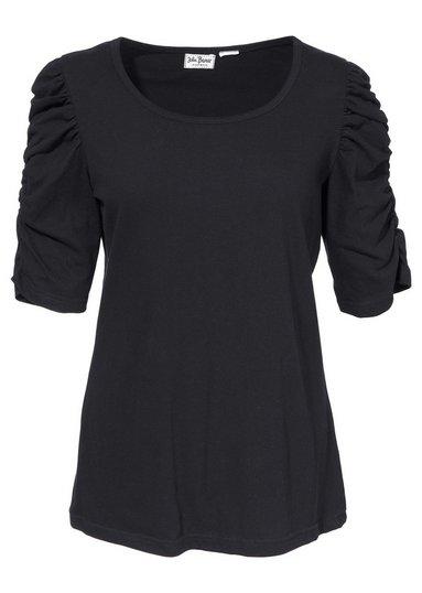 stretch shirt damen gr 44 46 schwarz puff rmel kurzarm basic longshirt ebay. Black Bedroom Furniture Sets. Home Design Ideas
