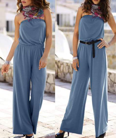 overall catsuit jumpsuit gr 48 50 jeansblau blau damen hosenanzug einteiler neu ebay. Black Bedroom Furniture Sets. Home Design Ideas