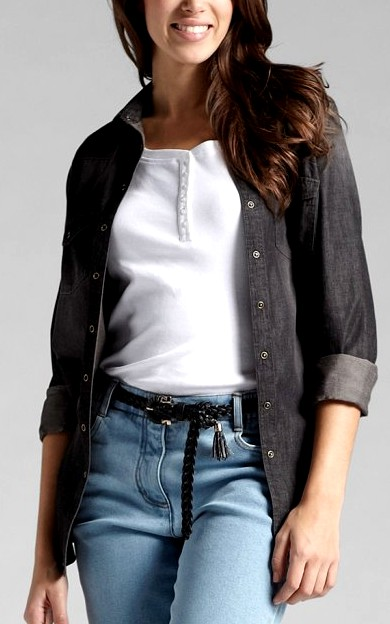 Jeanshemd jeans hemd gr 42 black stone used schwarz damen neu ebay - Jeanshemd lang damen ...