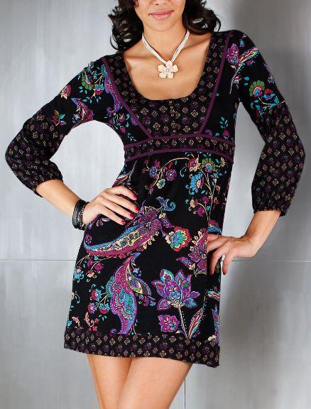 tunika shirt gr 36 38 schwarz lila bunt paisley damen longshirt mini kleid neu ebay. Black Bedroom Furniture Sets. Home Design Ideas