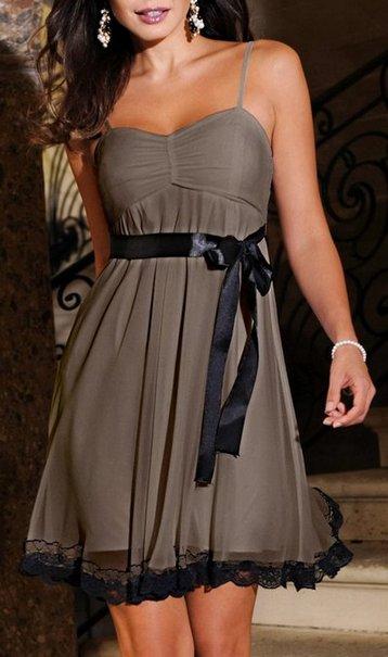 cocktailkleid kleid mini gr 38 taupe braun schwarz spitze damen dress tr ger neu ebay. Black Bedroom Furniture Sets. Home Design Ideas