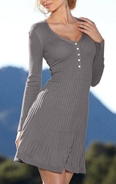 Jerseykleid langarm grau