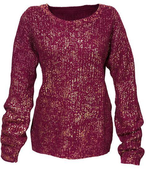 grob strick pullover gr 34 bordeaux gold damen longpullover langarm neu ebay. Black Bedroom Furniture Sets. Home Design Ideas