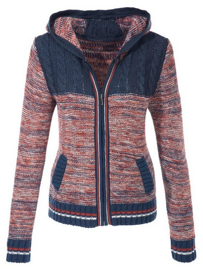 strickjacke cardigan damen gr 32 34 blau rot meliert kapuze strick jacke neu ebay. Black Bedroom Furniture Sets. Home Design Ideas