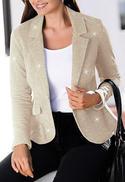 blazer jacke gr 38 beige gold glitzer damen jacket kurz neu ebay. Black Bedroom Furniture Sets. Home Design Ideas