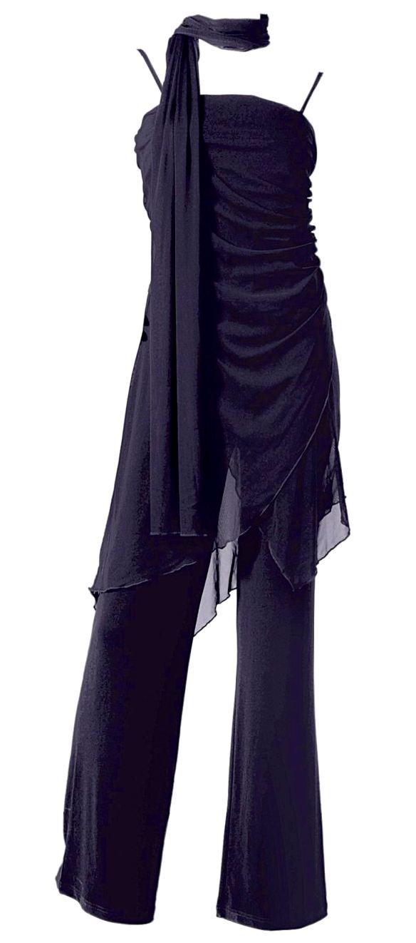 2 tlg stretch overall schal gr 34 dunkel blau festlich hosen anzug damen neu ebay. Black Bedroom Furniture Sets. Home Design Ideas