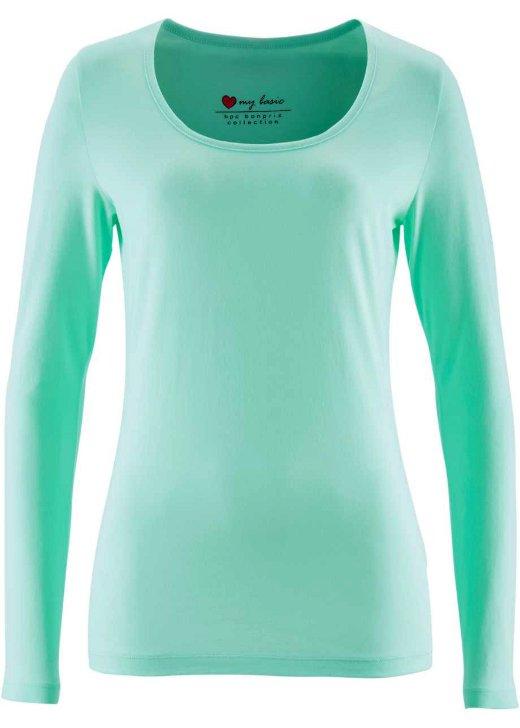 langarmshirt gr 34 36 38 aqua blau stretch rundhals basic shirt damen neu ebay. Black Bedroom Furniture Sets. Home Design Ideas