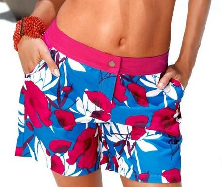 strand shorts badeshorts 44 aqua blau magenta wei blumen. Black Bedroom Furniture Sets. Home Design Ideas