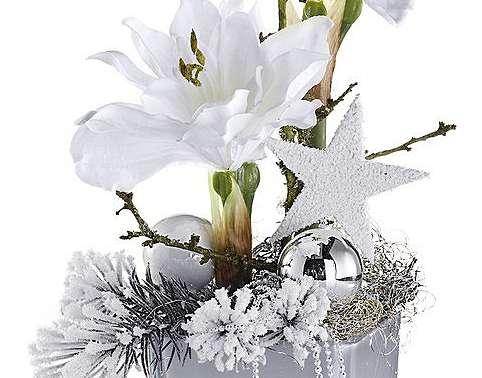 amaryllis gesteck kunstbl ten blumen topf weihnachten deko wei silber neu ebay. Black Bedroom Furniture Sets. Home Design Ideas