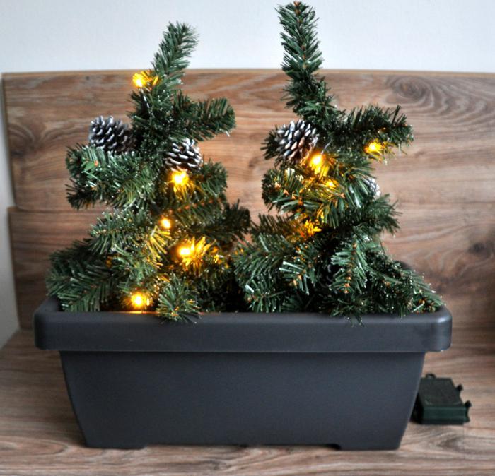 2in1 led tannenb ume im blumenkasten weihnachtsbaum weihnachten au en deko neu ebay. Black Bedroom Furniture Sets. Home Design Ideas